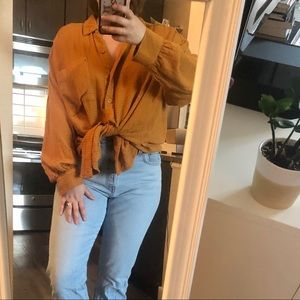 free people oversized camel button down